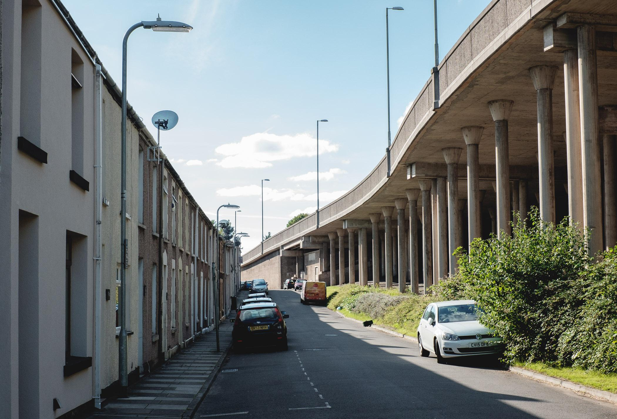 Llewellyn Street, Port Talbot. Half of the street was demolished during the construction of the M4 motorway in the 1960s and residents were relocated to new council estates on the other side of town.