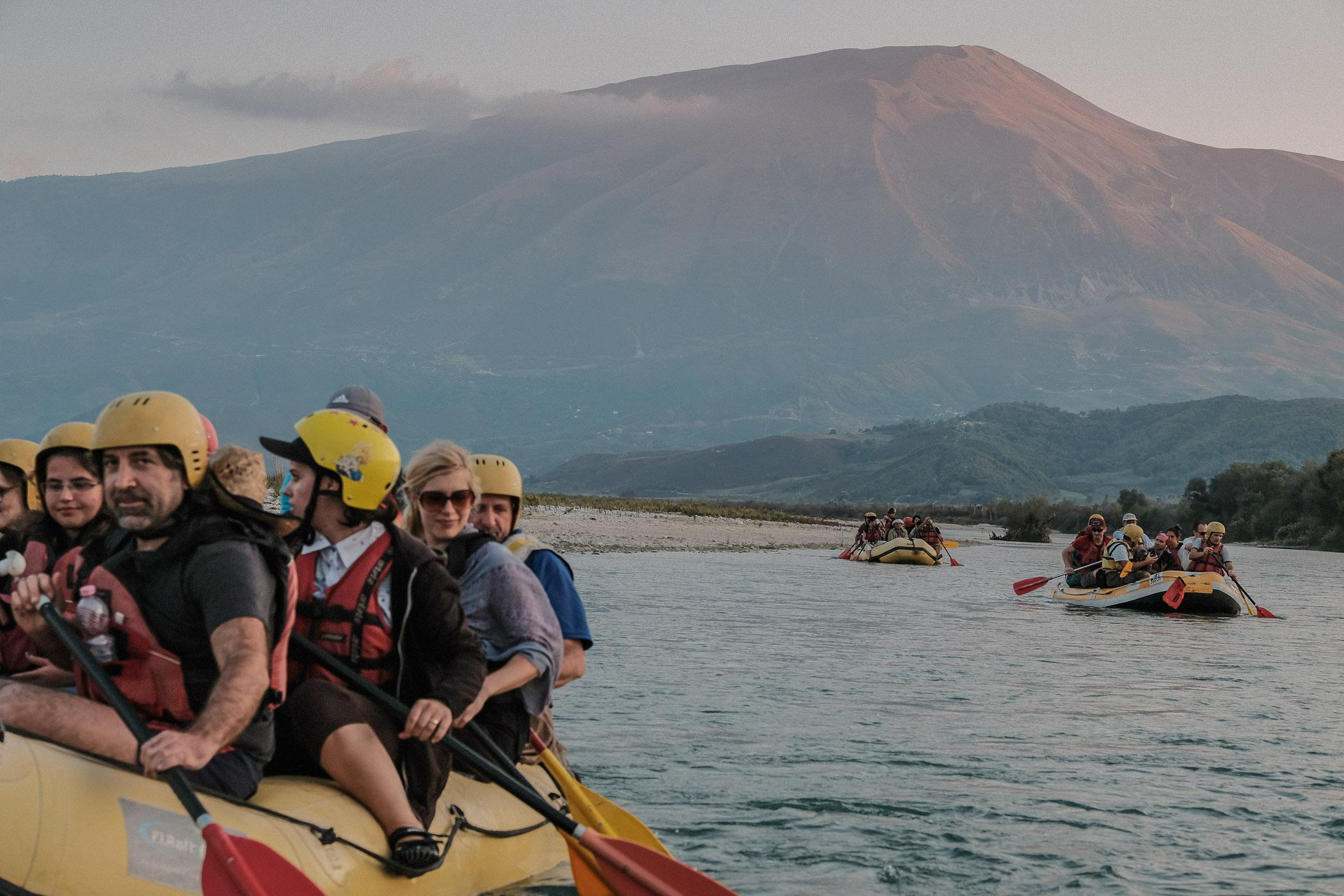 A group of scientists and activists raft down the Vjosa river, in between the proposed sites of two contested large scale hydropower dams near the village of Kuta, Albania.