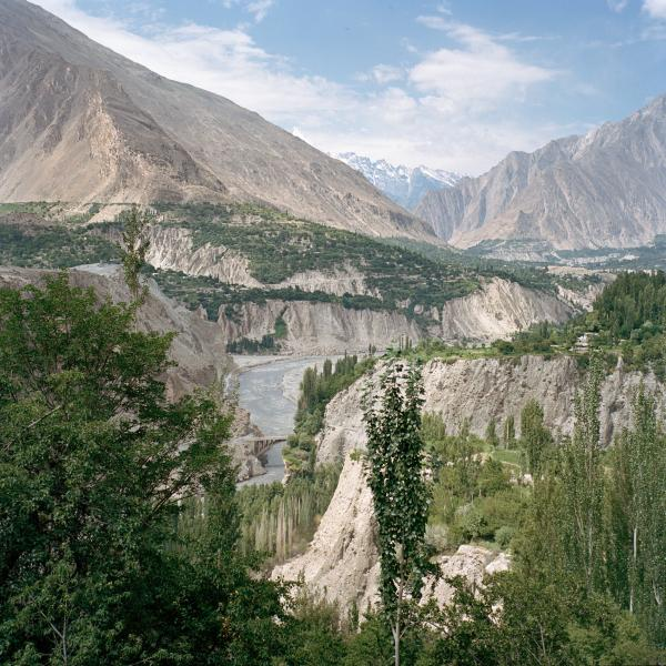A view of the majestic Hunza valley in northern Pakistan, bordering China and Afghanistan. This region of the country is primarily inhabited by Ismailis, a moderate sect of Islam, and maintains high literacy rates for girls, religious tolerance, and relative political stability. Copyright © Sara Hylton/Redux Picutres, 2019