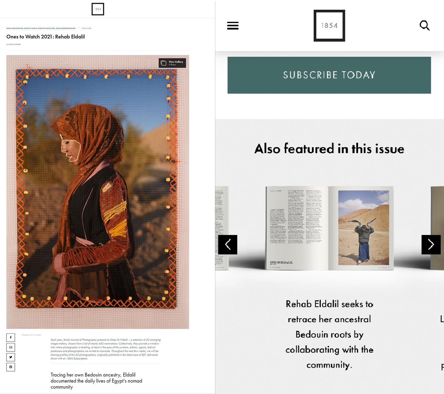 The British Journal Of Photography's, One's To Watch print and digital feature, 2021 https://www.1854.photography/2021/09/ones-to-watch-2021-rehab-eldalil/