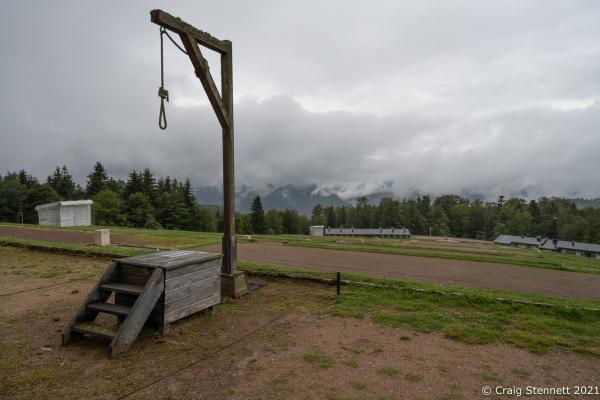 Natzweiler-Struthof Concentration Camp, Natzweiler, Bas-Rhin, France, 11th September 2021. The Gallows in Natzweiler-Struthof a Nazi concentration camp located in the Vosges Mountains in the Gau Baden-Alsace, on territory annexed by Germany in 1940. The camp operated from 21st May 1941 through to September 1944 and was the only concentration camp established by the Nazis on pre-war French soil. Roughly 52,000 prisoners were held there. They were mainly from the French Resistance. It operated as a labor camp, transit camp, and as the war went on, a place of execution (estimated 22,000 deaths). The inmates came from 32 different nations. An annual remembrance ceremony is held for all who were interned there and all who died. 2021, a special ceremony was held for Sergeant Frederick Habgood, who was a crew member of a Lancaster Bomber shot down over France on July 29, 1944. Sergeant Habgood was captured by the Gestapo, taken to the concentration camp and immediately hanged. His body was cremated at the site and his ashes flung into the 'Ash Pit'. However, his silver bracelet, engraved with his name, miraculously survived. This bracelet was handed back to the surviving members of the Habgood family by Geneviève Darrieussecq, Secretary of State to the Minister of the Armed Forces for France.