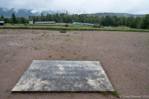 Natzweiler-Struthof Concentration Camp, Natzweiler, Bas-Rhin, France, 11th September 2021. Natzweiler-Struthof was a Nazi concentration camp located in the Vosges Mountains in the Gau Baden-Alsace, on territory annexed by Germany in 1940. The camp operated from 21st May 1941 through to September 1944 and was the only concentration camp established by the Nazis on pre-war French soil. Roughly 52,000 prisoners were held there. They were mainly from the French Resistance. It operated as a labor camp, transit camp, and as the war went on, a place of execution (estimated 22,000 deaths). The inmates came from 32 different nations. An annual remembrance ceremony is held for all who were interned there and all who died. 2021, a special ceremony was held for Sergeant Frederick Habgood, who was a crew member of a Lancaster Bomber shot down over France on July 29, 1944. Sergeant Habgood was captured by the Gestapo, taken to the concentration camp and immediately hanged. His body was cremated at the site and his ashes flung into the 'Ash Pit'. However, his silver bracelet, engraved with his name, miraculously survived. This bracelet was handed back to the surviving members of the Habgood family by Geneviève Darrieussecq, Secretary of State to the Minister of the Armed Forces for France.