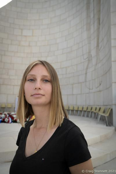 Anna Bennand at The Monument to the Departed at Nazweiler-Struthof Concentration Camp, Natzweiler, Bas-Rhin, France, 12th September 2021. In 2018 she found the silver bracelet belonging to RAF Sergeant Frederick Habgood in the 'Ash Pits' of the concentration camp while she was tidying the area. 21 year old Sergeant Frederick Habgood was a crew member of a Lancaster Bomber shot down over France on July 29, 1944. He was captured by the Gestapo and taken to the concentration camp and immediately hanged. His body was cremated at the site and his ashes flung into the 'Ash Pit'. However, his silver engraved bracelet miraculously survived. The bracelet was returned to Sergeant Habgood's surviving family members as a special part of the annual ceremony of remembrance at the camp. The bracelet was handed over to Paul Habgood, Sergeant Habgood's Nephew, and Marilyn Corrigan, the deceased airmans Niece, by Geneviève Darrieussecq, Secretary of State to the Minister of the Armed Forces for France.