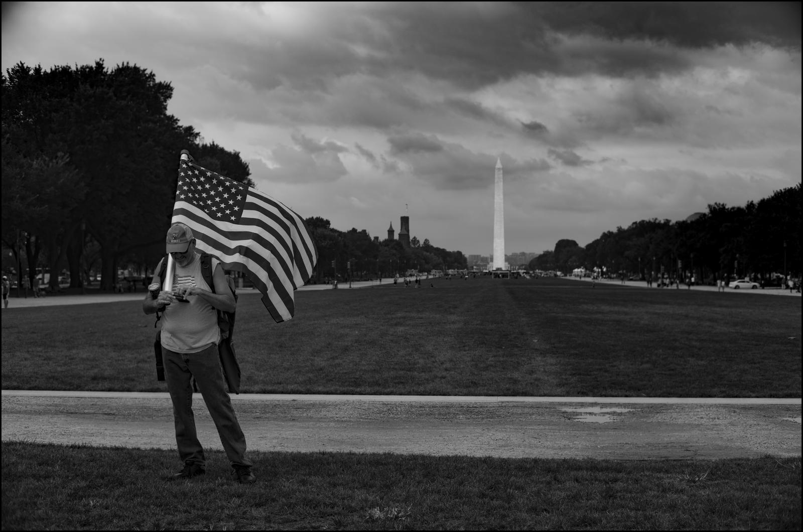 Decked in patriotic attire and with U.S. Flag. Prior to J6 Rally, Washington D.C. 09/18/21.