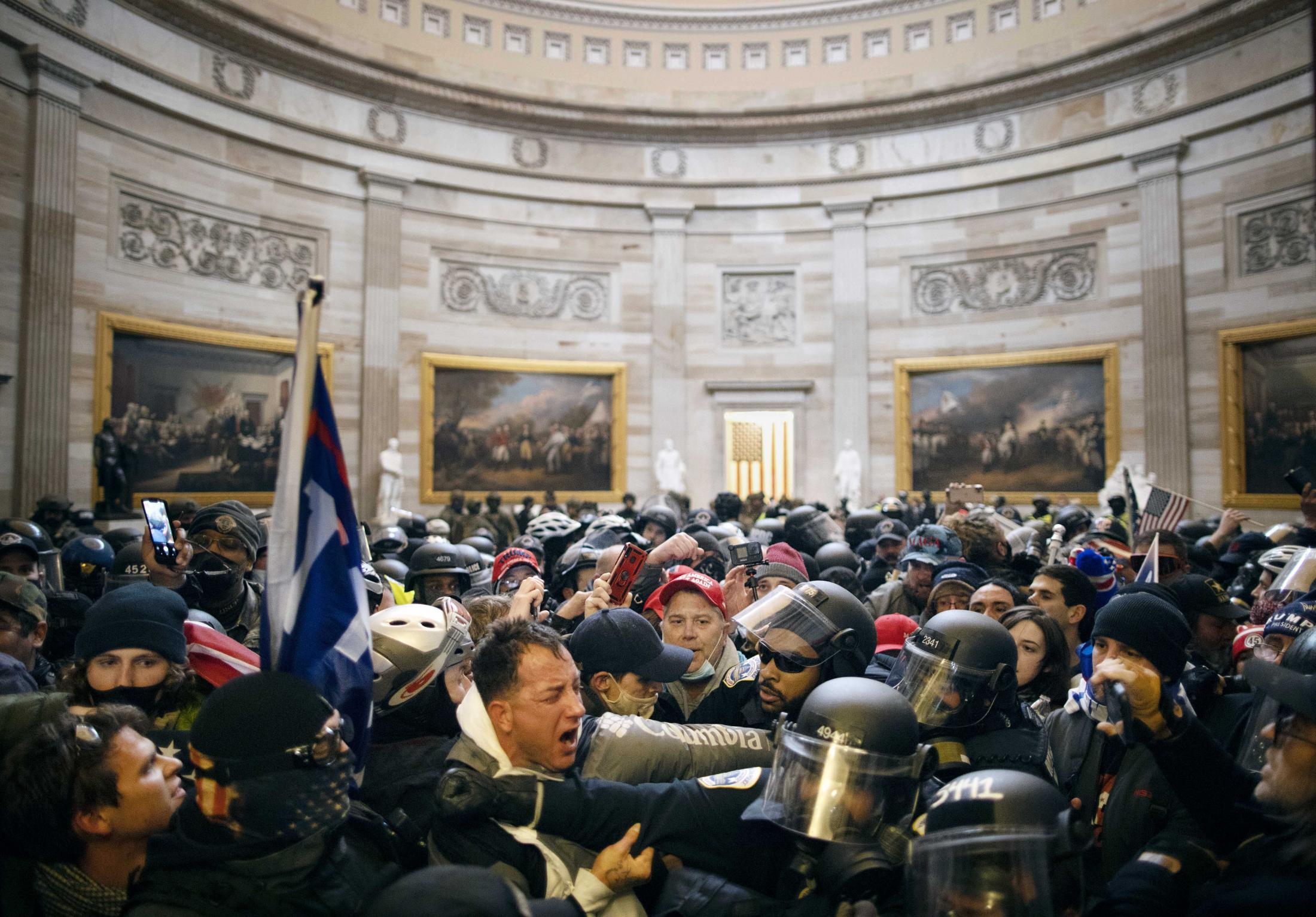 Police clash with supporters of US President Donald Trump who breached security and entered the Capitol building. January 6, 2021.