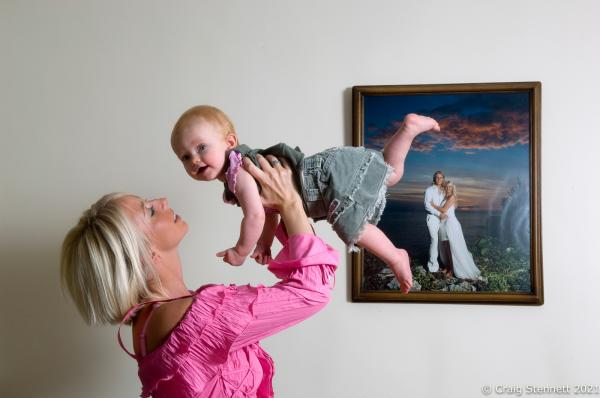 Lindsey Hunter with 10 month old daughter Evie at home in Batley, West Yorkshire.  Photographed for Mail On Sunday (UK)