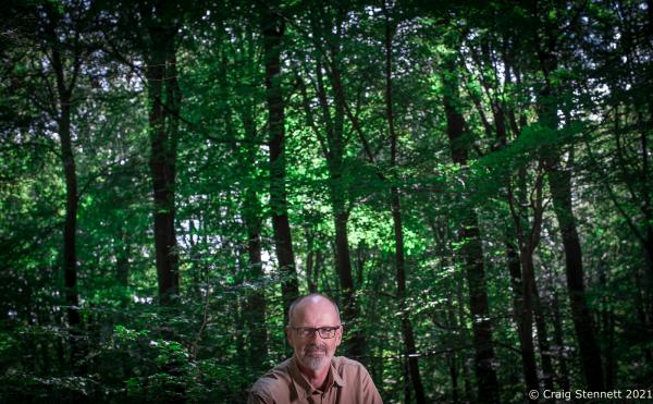 German Forester Peter Wohlleben in a 4000 year old part of his Huemmel Forest in Rhineland Palatinade. Wohlleben has a book called 'Hidden Life of Trees' coming out in the UK on 13th September 2016.  Photographed for The Daily Telegraph (UK)