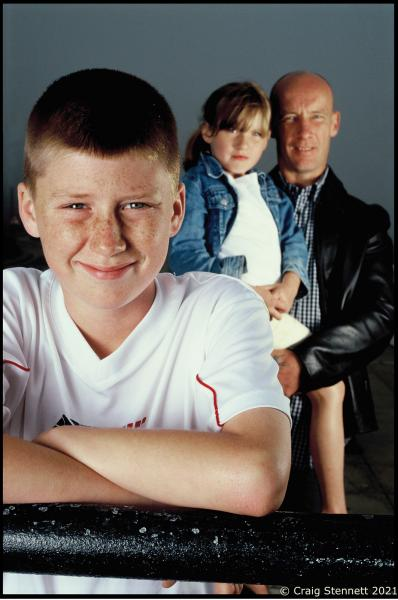 Seven Year Sam Wilkins photographed with his father & sister. Sam saved them when he called the coastguard after spotting them cut off as the tide came in at Whitley Bay, North Yorkshire.  Photographed for Readers Digest (UK)