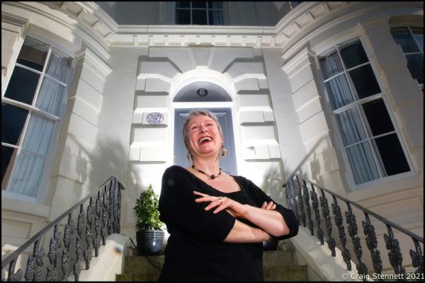 """Barbara Firth at her B&B """"Crown House"""" in Scarborough.  Photographed for The Daily Telegraph (UK)"""