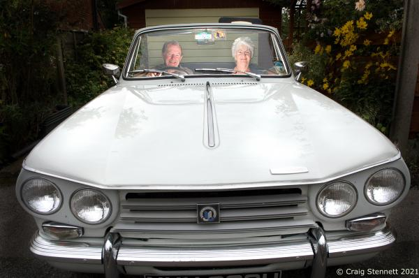 Derek & Brenda Jones with their Triumph Vitesse at their home in Cheadle.  Photographed for Mail on Sunday. (UK)