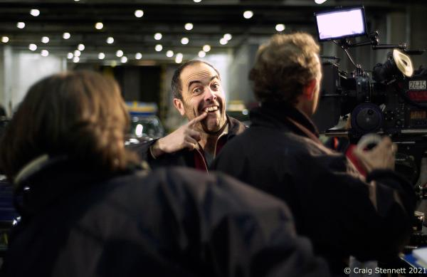 Actor James Nesbitt shows off his gold tooth for his role in Big Dipper. Filmed for this scene in Liverpool.  Photographed for The Times (UK)