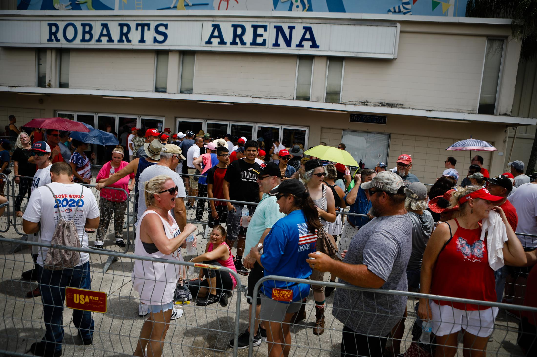 SARASOTA, FL - JULY 03: People wait in line to enter to a rally host by former U.S. President Donald Trump on July 3, 2021 in Sarasota, Florida. Former U.S. President Donald J. Trump holds a major rally co-sponsored by the Republican Party of Florida and marks President Trump's further support of the MAGA agenda and the accomplishments of his administration. (Photo by Eva Marie Uzcategui/Getty Images)