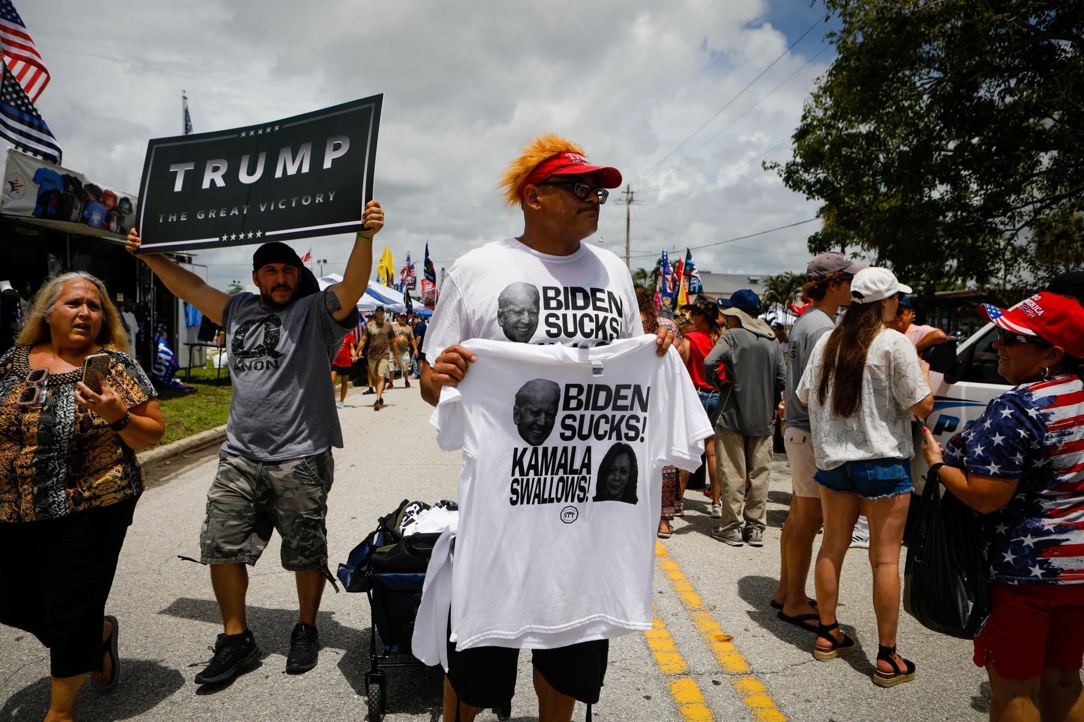 SARASOTA, FL - JULY 03: People wait for the arrival of former U.S. President Donald Trump to a rally on July 3, 2021 in Sarasota, Florida. Former U.S. President Donald J. Trump hold a major rally co-sponsored by the Republican Party of Florida and marks President Trump's further support of the MAGA agenda and accomplishments of his administration. (Photo by Eva Marie Uzcategui/Getty Images)