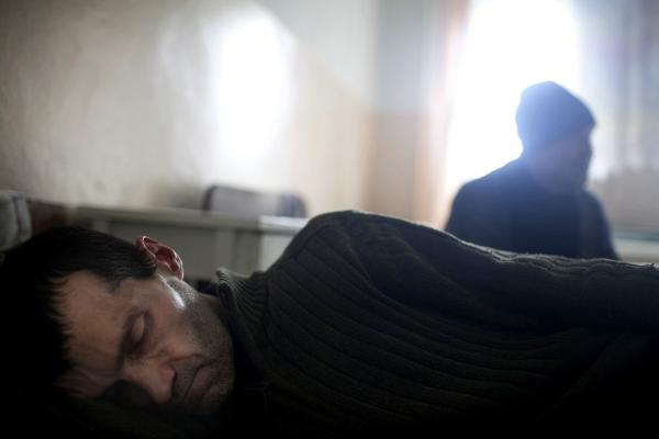 Residents of Petrovsiky district take refuge in the local hospital, after heavy shelling came near their houses which are closer to the frontline. Donetsk.