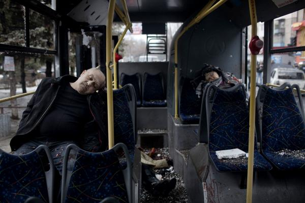 Passengers killed when a trolley bus got hit by a mortar shell. at least 8 civilians died in the attack and dozens were injured. Donetsk.