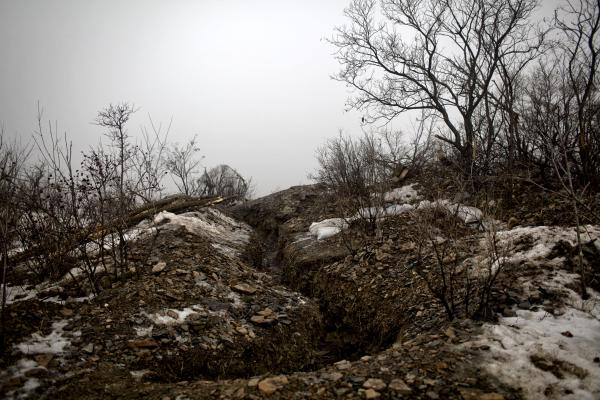 A trench used by DPR forces frontline near Grolivka, E Ukraine.