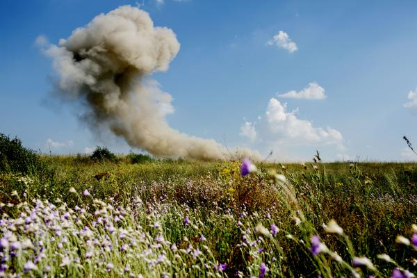A Ukranian army frontline position, being blown up by UKraninan soldiers in order to make more space in the postiion. near Troitske village, Luhansk region.
