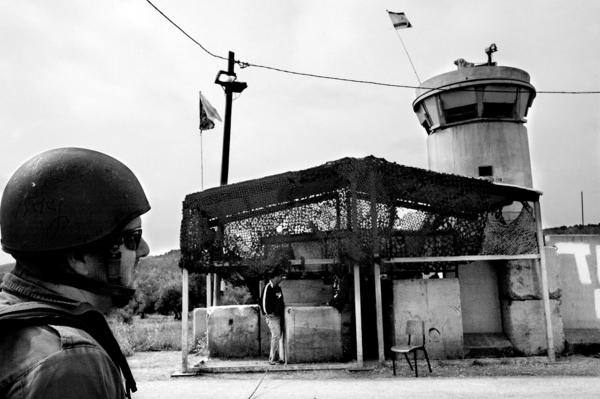 A checkpoint manned by reservists, near Jenin.