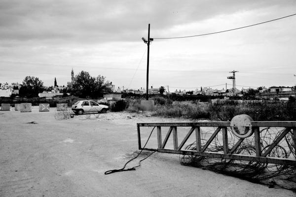 A checkpoint maned by reservists, near Jenin.