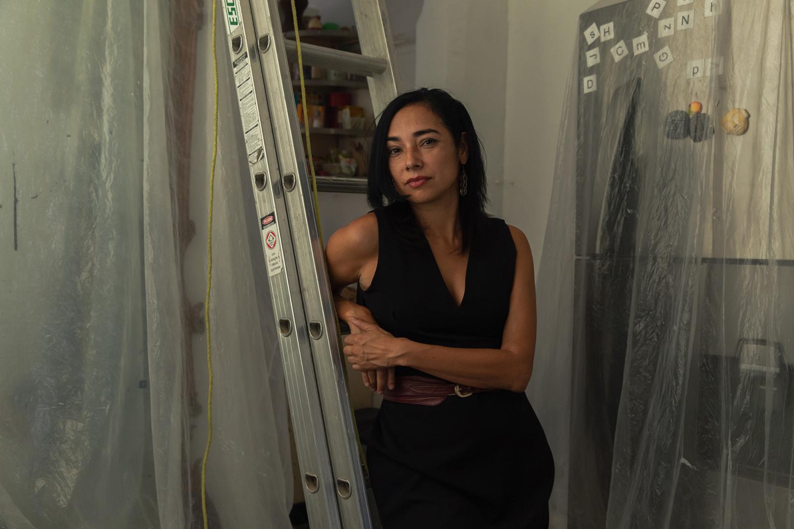Artist Sandra Calvo at her home.