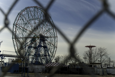 Wonder Wheel, with the Parachute Jump in the background. December 2009.